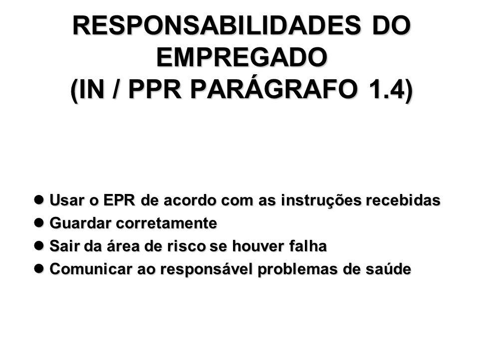 RESPONSABILIDADES DO EMPREGADOR RESPONSABILIDADES DO EMPREGADOR ( IN / PPR Parágrafo 1.3) Fornecer o respirador quando necessário; Fornecer o respirad