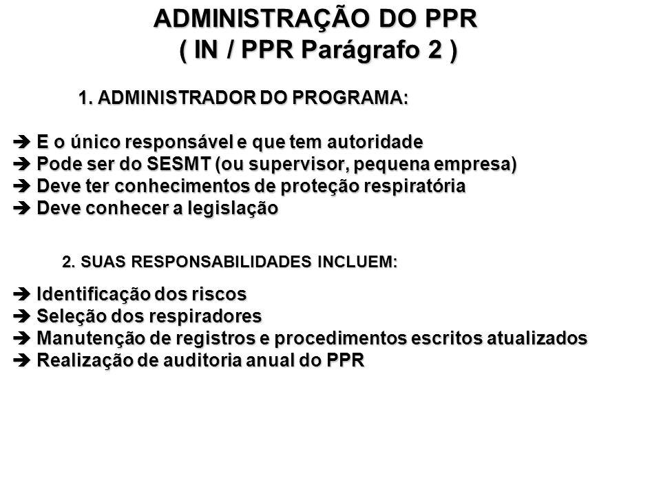 ADMINISTRAÇÃO DO PPR ( IN / PPR Parágrafo 2 ) 1.
