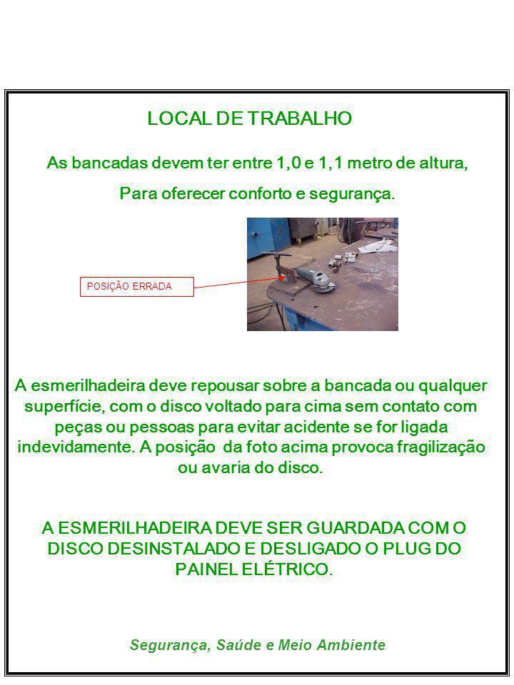 Segurança, Saúde e Meio Ambiente LOCAL DE TRABALHO As bancadas devem ter entre 1,0 e 1,1 metro de altura, Para oferecer conforto e segurança.