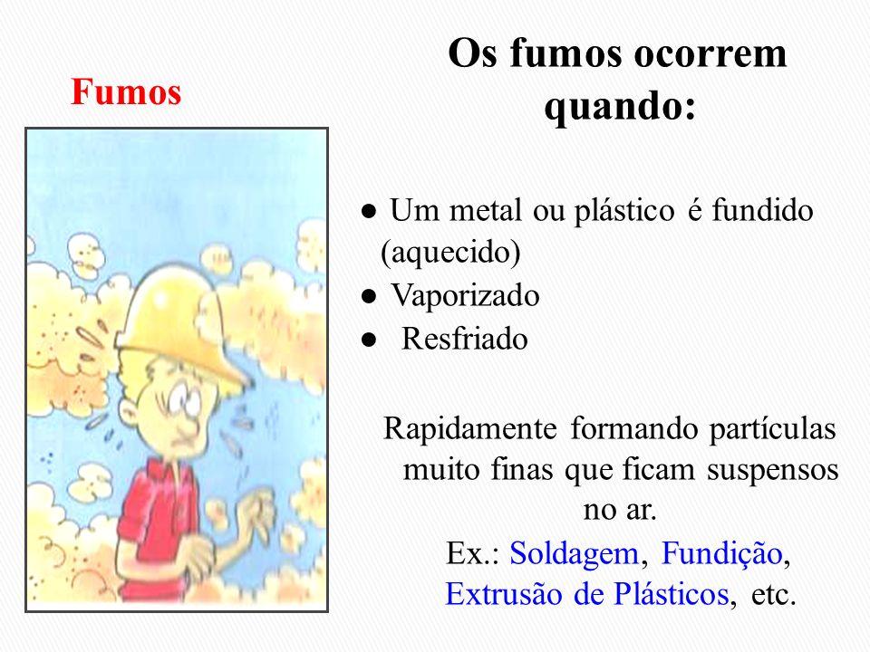Os fumos ocorrem quando: Um metal ou plástico é fundido (aquecido) Vaporizado Resfriado Rapidamente formando partículas muito finas que ficam suspenso