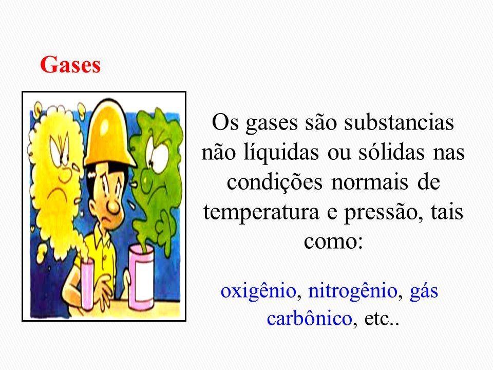 Os gases são substancias não líquidas ou sólidas nas condições normais de temperatura e pressão, tais como: oxigênio, nitrogênio, gás carbônico, etc..
