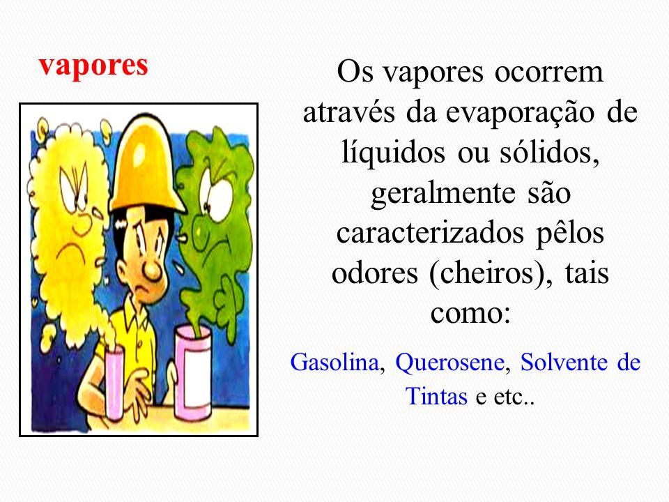 Os vapores ocorrem através da evaporação de líquidos ou sólidos, geralmente são caracterizados pêlos odores (cheiros), tais como: Gasolina, Querosene,