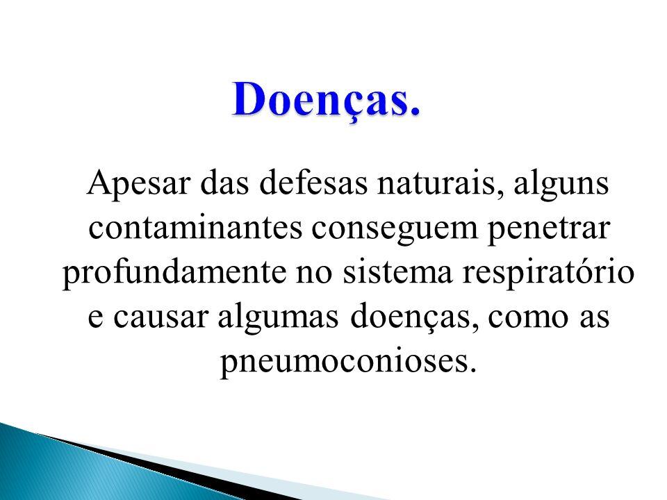 Apesar das defesas naturais, alguns contaminantes conseguem penetrar profundamente no sistema respiratório e causar algumas doenças, como as pneumocon