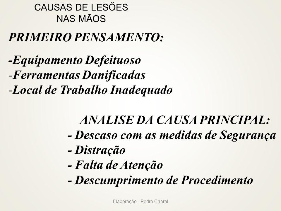 CAUSAS DE LESÕES NAS MÃOS PRIMEIRO PENSAMENTO: -Equipamento Defeituoso -Ferramentas Danificadas -Local de Trabalho Inadequado ANALISE DA CAUSA PRINCIP