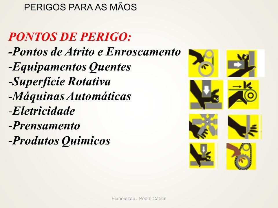 PERIGOS PARA AS MÃOS PONTOS DE PERIGO: -Pontos de Atrito e Enroscamento -Equipamentos Quentes -Superfície Rotativa -Máquinas Automáticas -Eletricidade