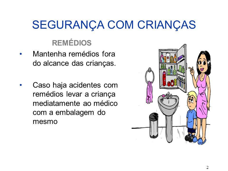 2 SEGURANÇA COM CRIANÇAS REMÉDIOS Mantenha remédios fora do alcance das crianças. Caso haja acidentes com remédios levar a criança mediatamente ao méd