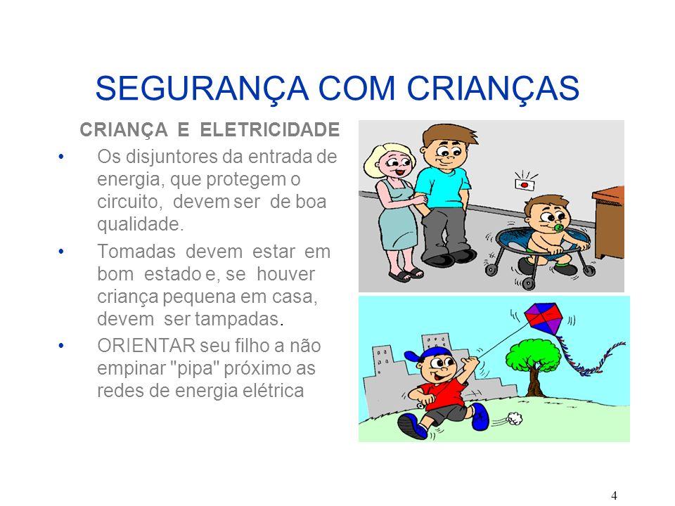 4 SEGURANÇA COM CRIANÇAS CRIANÇA E ELETRICIDADE Os disjuntores da entrada de energia, que protegem o circuito, devem ser de boa qualidade. Tomadas dev