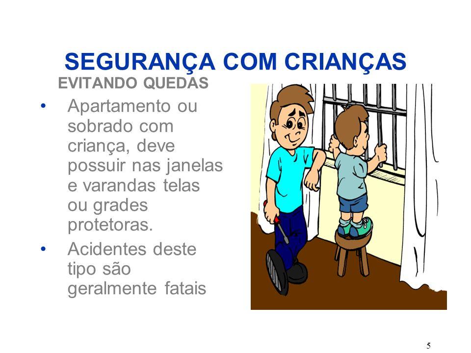 5 SEGURANÇA COM CRIANÇAS EVITANDO QUEDAS Apartamento ou sobrado com criança, deve possuir nas janelas e varandas telas ou grades protetoras. Acidentes
