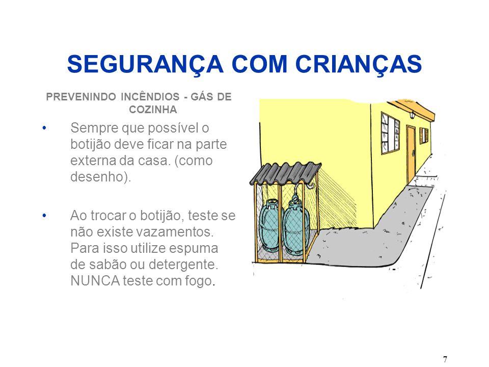 7 SEGURANÇA COM CRIANÇAS PREVENINDO INCÊNDIOS - GÁS DE COZINHA Sempre que possível o botijão deve ficar na parte externa da casa. (como desenho). Ao t