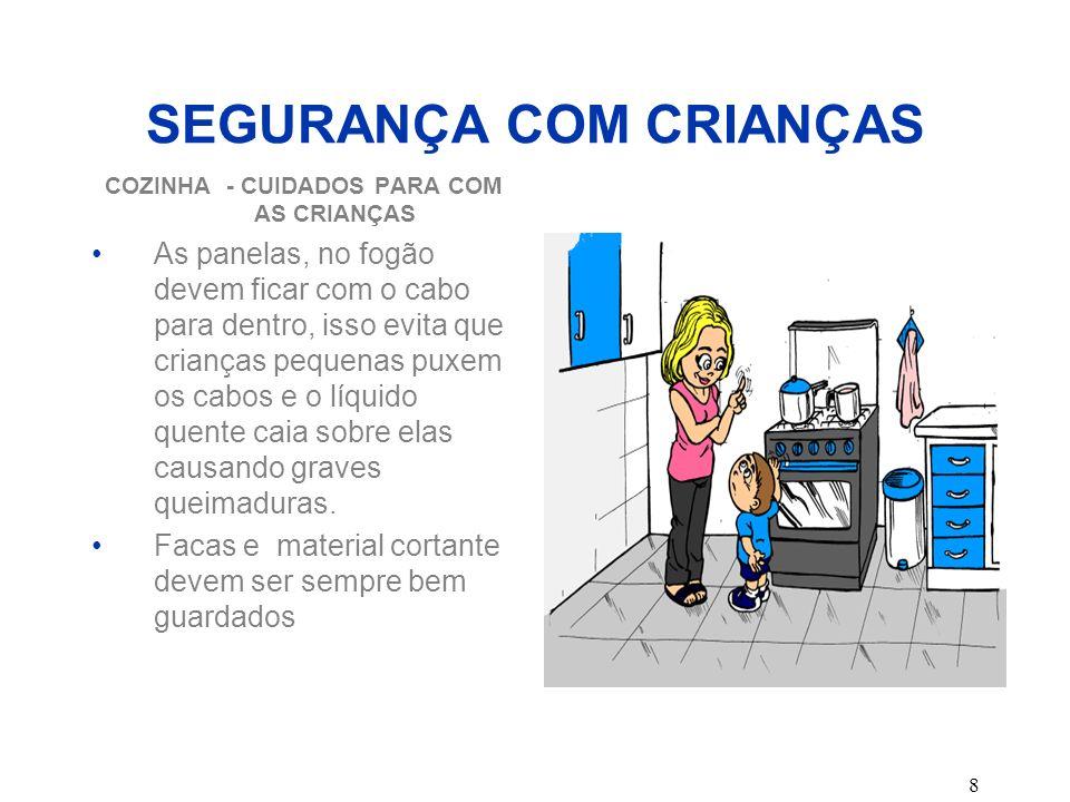 8 SEGURANÇA COM CRIANÇAS COZINHA - CUIDADOS PARA COM AS CRIANÇAS As panelas, no fogão devem ficar com o cabo para dentro, isso evita que crianças pequ