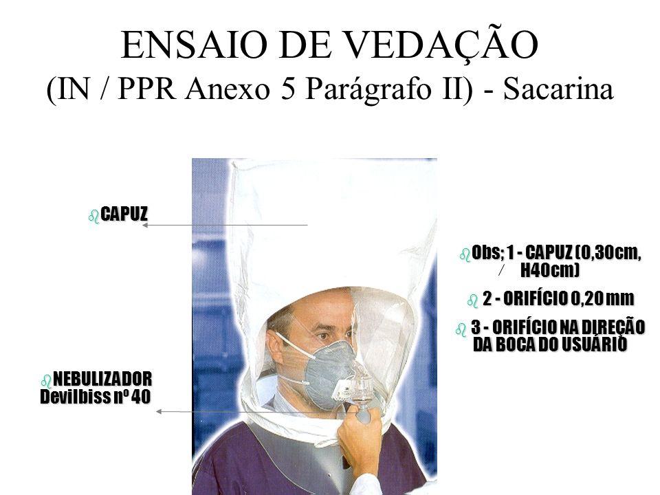 ENSAIO DE VEDAÇÃO (IN / PPR Anexo 5) - óleo de banana FREQUÊNCIA DO ENSAIO 1 - Ao ser selecionado o respirador; 2 - Repetir a cada 12 meses, ou 3 - Qu