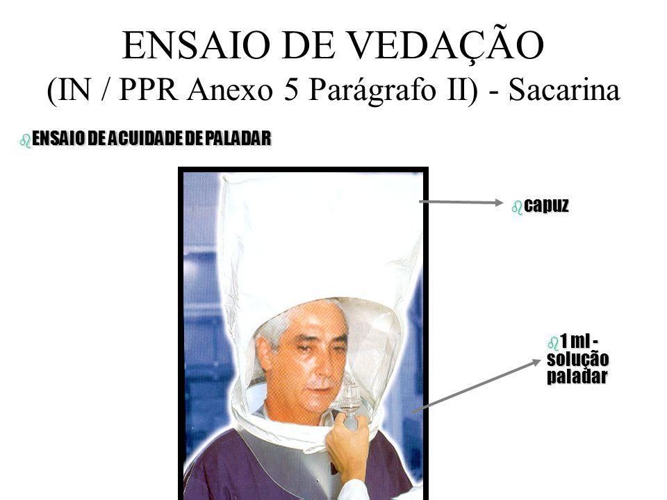 ENSAIO DE VEDAÇÃO (IN / PPR Anexo 5 Parágrafo II) - Sacarina b CAPUZ b NEBULIZADOR Devilbiss nº 40 b Obs; 1 - CAPUZ (0,30cm, H40cm) b 2 - ORIFÍCIO 0,2