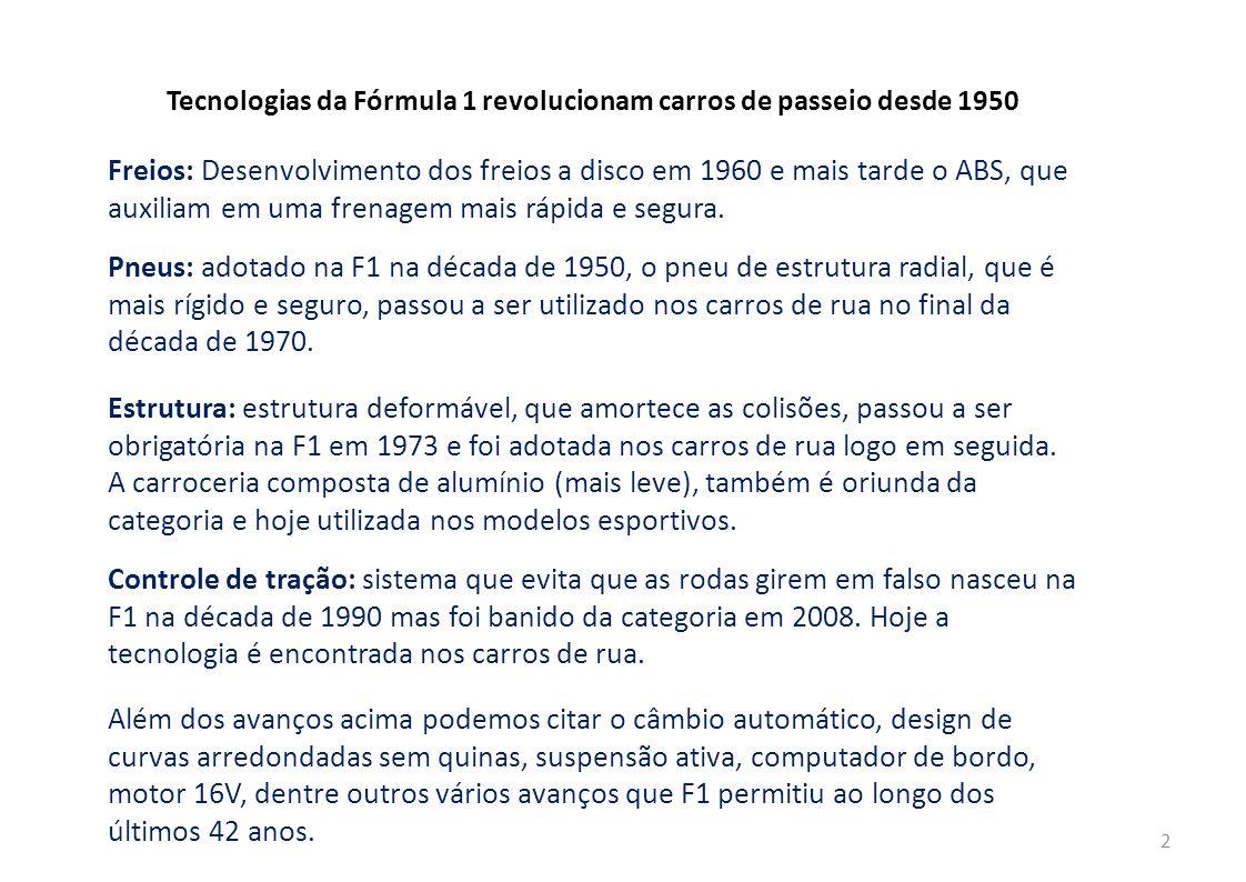 2 Tecnologias da Fórmula 1 revolucionam carros de passeio desde 1950 Freios: Desenvolvimento dos freios a disco em 1960 e mais tarde o ABS, que auxiliam em uma frenagem mais rápida e segura.