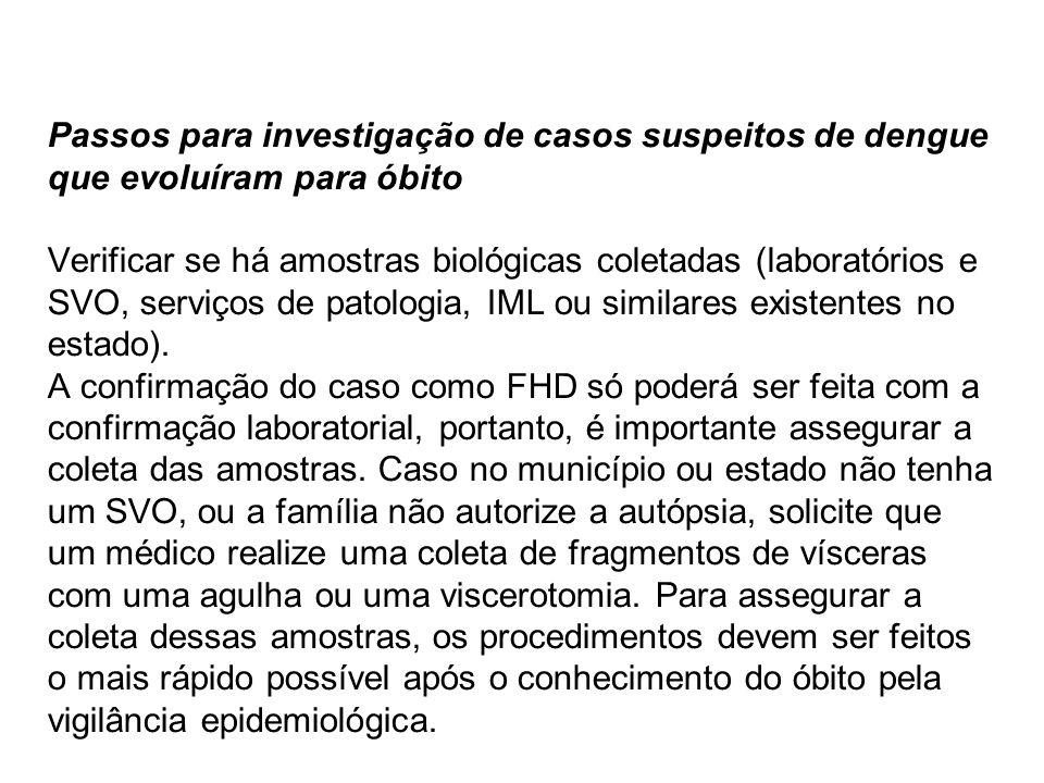 Passos para investigação de casos suspeitos de dengue que evoluíram para óbito Verificar se há amostras biológicas coletadas (laboratórios e SVO, serv