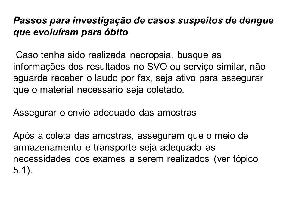 Passos para investigação de casos suspeitos de dengue que evoluíram para óbito Caso tenha sido realizada necropsia, busque as informações dos resultad