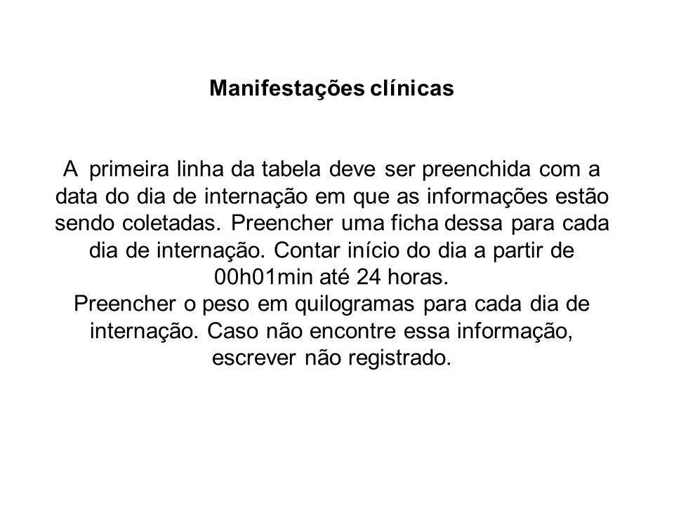 Manifestações clínicas A primeira linha da tabela deve ser preenchida com a data do dia de internação em que as informações estão sendo coletadas. Pre