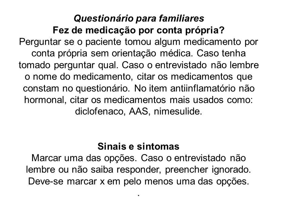 Questionário para familiares Fez de medicação por conta própria? Perguntar se o paciente tomou algum medicamento por conta própria sem orientação médi