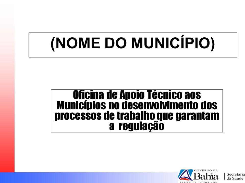 (NOME DO MUNICÍPIO) Oficina de Apoio Técnico aos Municípios no desenvolvimento dos processos de trabalho que garantam a regulação