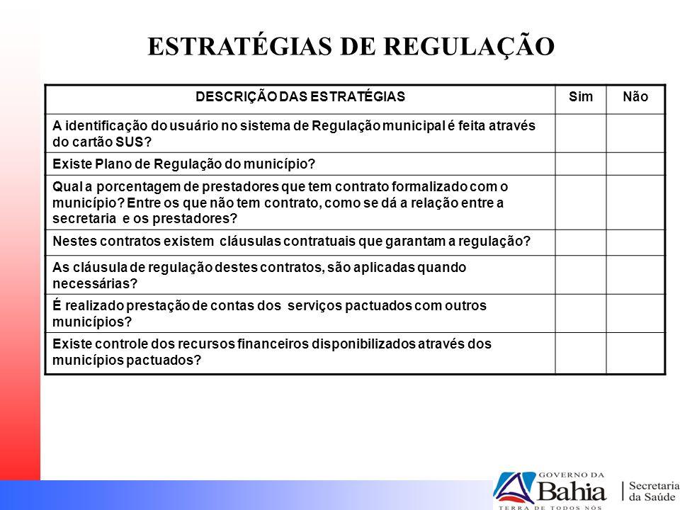 DESCRIÇÃO DAS ESTRATÉGIASSimNão A identificação do usuário no sistema de Regulação municipal é feita através do cartão SUS.