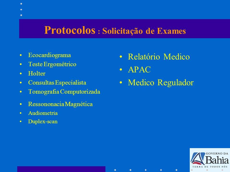 Protocolos : Solicitação de Exames Ecocardiograma Teste Ergométrico Holter Consultas Especialista Tomografia Computorizada Ressononacia Magnética Audi