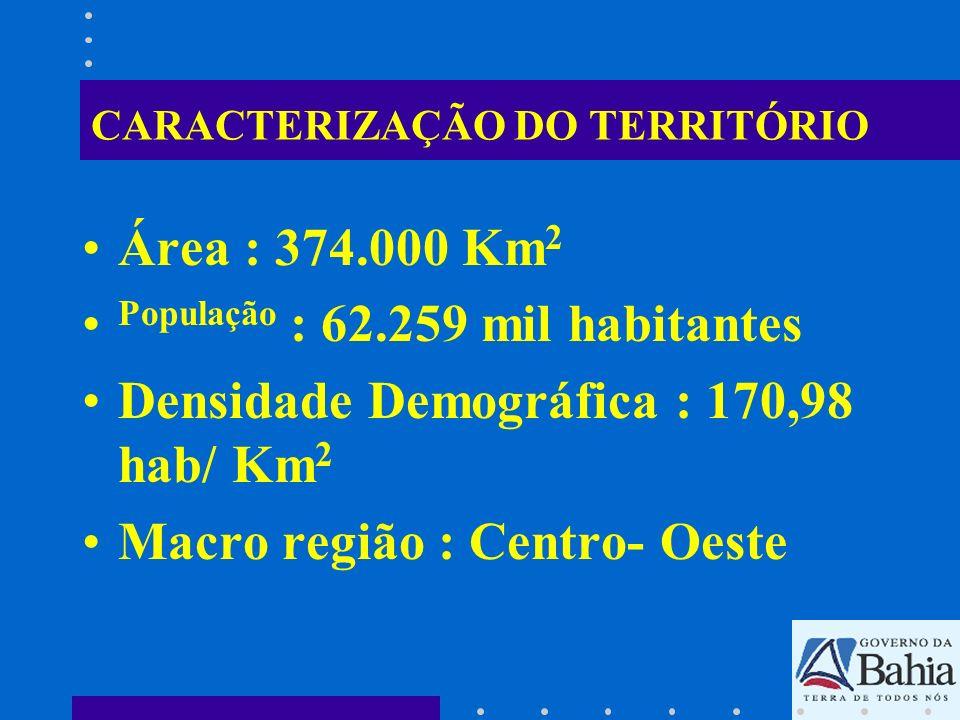 CARACTERIZAÇÃO DO TERRITÓRIO Área : 374.000 Km 2 População : 62.259 mil habitantes Densidade Demográfica : 170,98 hab/ Km 2 Macro região : Centro- Oes