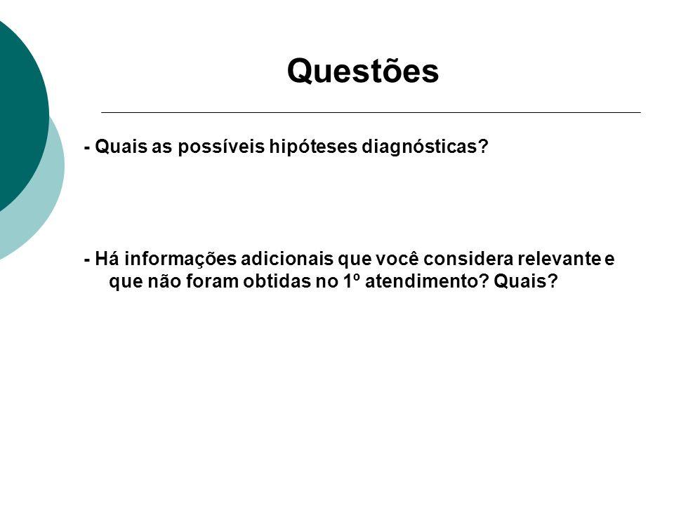 Questões - Quais as possíveis hipóteses diagnósticas? - Há informações adicionais que você considera relevante e que não foram obtidas no 1º atendimen