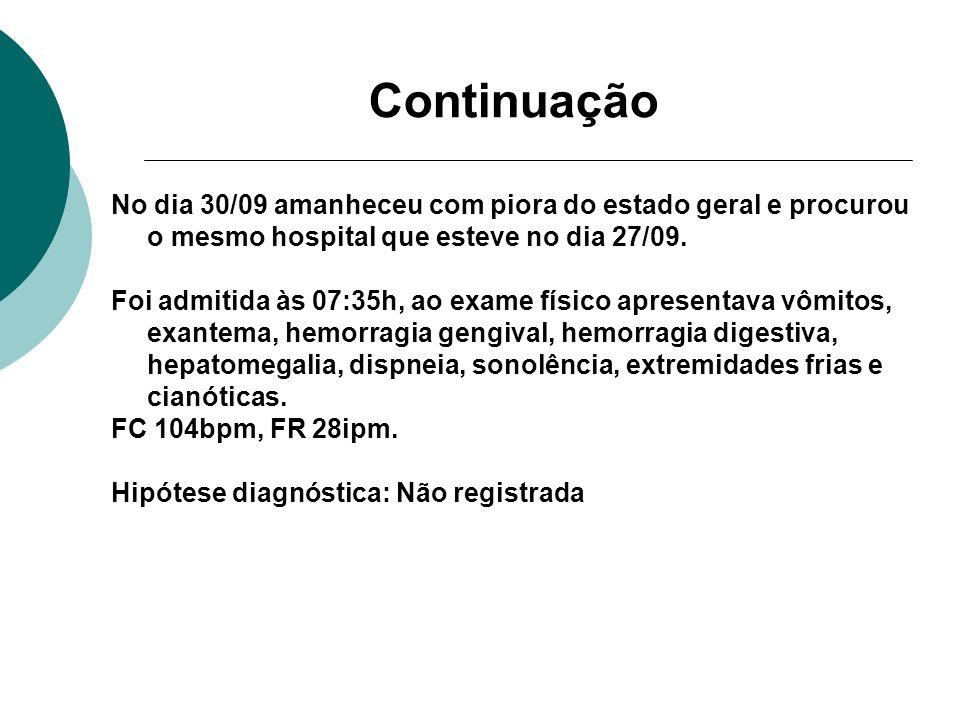 Continuação No dia 30/09 amanheceu com piora do estado geral e procurou o mesmo hospital que esteve no dia 27/09. Foi admitida às 07:35h, ao exame fís