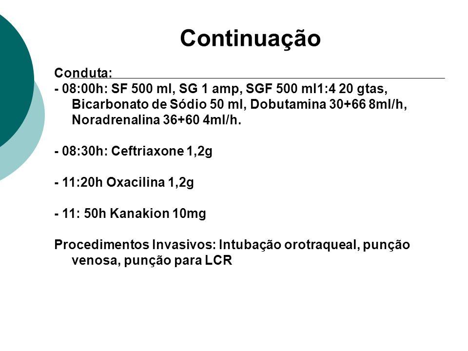 Continuação Conduta: - 08:00h: SF 500 ml, SG 1 amp, SGF 500 ml1:4 20 gtas, Bicarbonato de Sódio 50 ml, Dobutamina 30+66 8ml/h, Noradrenalina 36+60 4ml