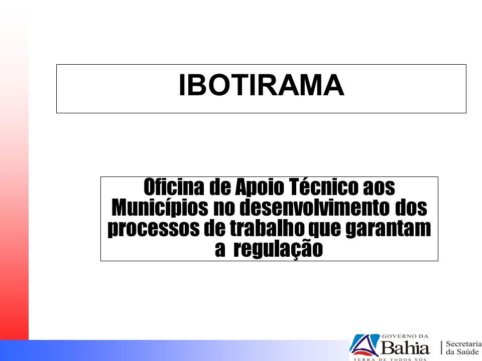 IBOTIRAMA Oficina de Apoio Técnico aos Municípios no desenvolvimento dos processos de trabalho que garantam a regulação