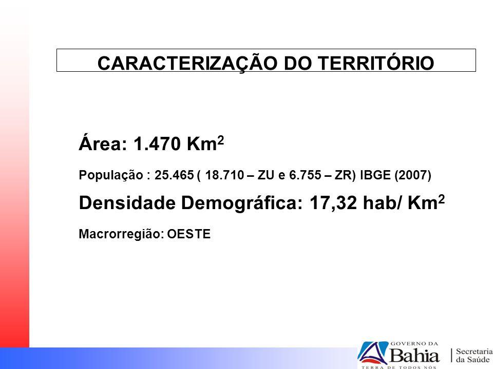 CARACTERIZAÇÃO DO TERRITÓRIO Área: 1.470 Km 2 População : 25.465 ( 18.710 – ZU e 6.755 – ZR) IBGE (2007) Densidade Demográfica: 17,32 hab/ Km 2 Macror