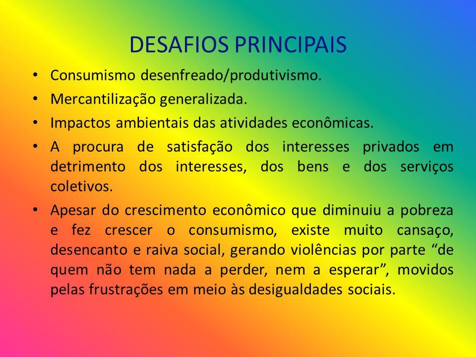 DESAFIOS PRINCIPAIS Consumismo desenfreado/produtivismo.