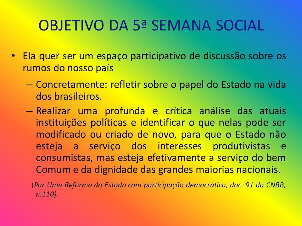 OBJETIVO DA 5ª SEMANA SOCIAL Ela quer ser um espaço participativo de discussão sobre os rumos do nosso país – Concretamente: refletir sobre o papel do Estado na vida dos brasileiros.