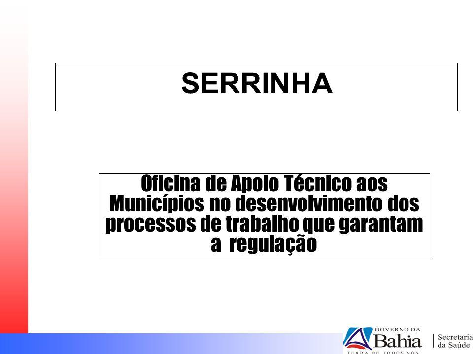 SERRINHA Oficina de Apoio Técnico aos Municípios no desenvolvimento dos processos de trabalho que garantam a regulação