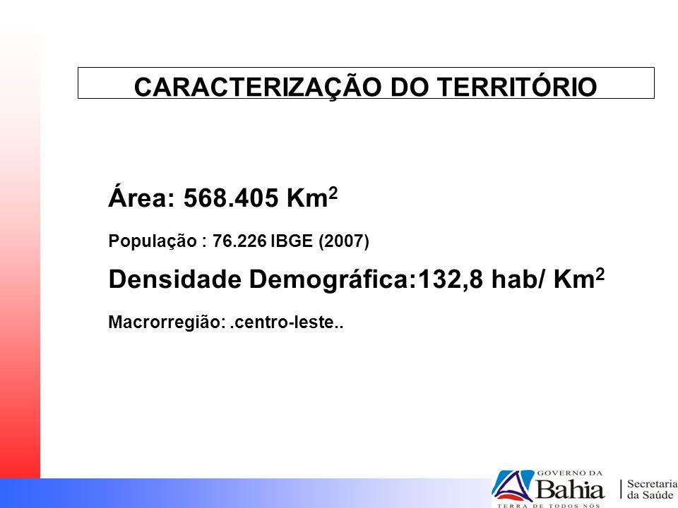 CARACTERIZAÇÃO DO TERRITÓRIO Área: 568.405 Km 2 População : 76.226 IBGE (2007) Densidade Demográfica:132,8 hab/ Km 2 Macrorregião:.centro-leste..