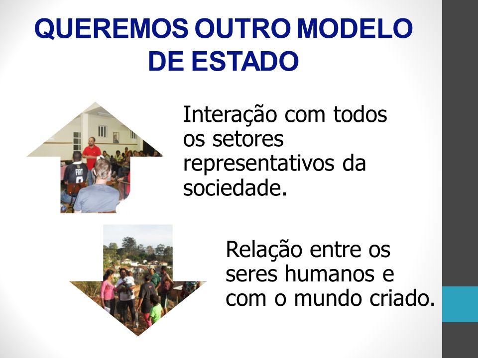 Interação com todos os setores representativos da sociedade. Relação entre os seres humanos e com o mundo criado. QUEREMOS OUTRO MODELO DE ESTADO