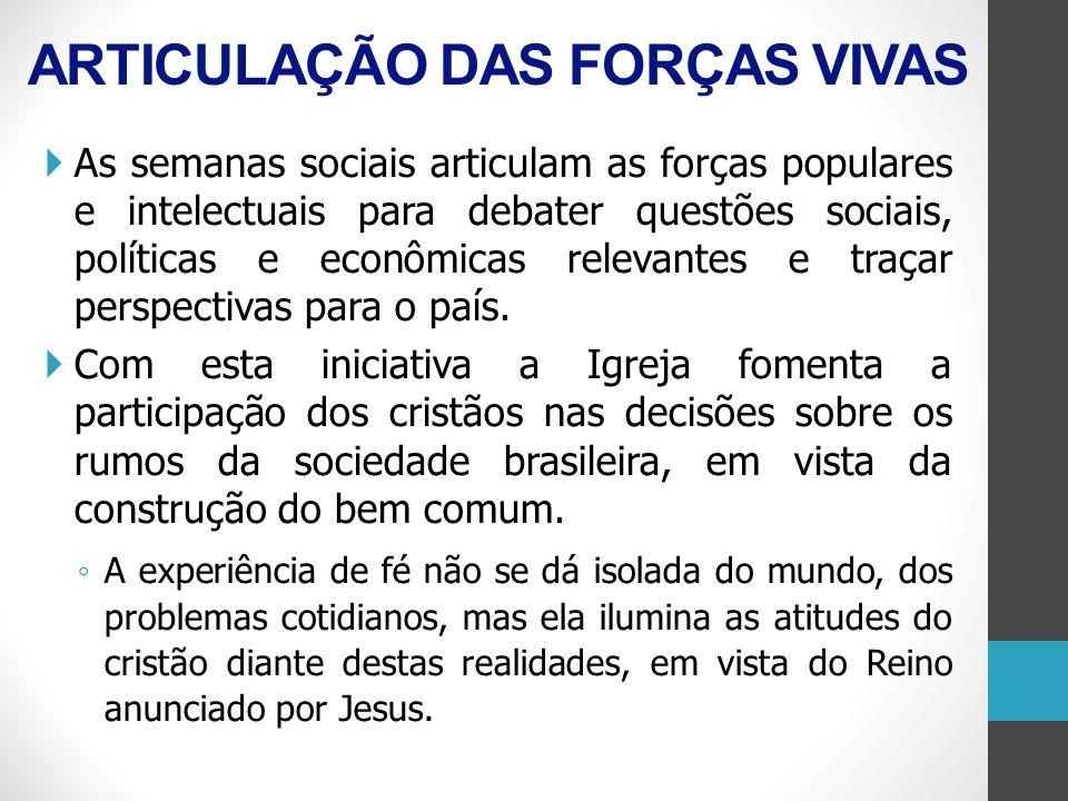 ARTICULAÇÃO DAS FORÇAS VIVAS As semanas sociais articulam as forças populares e intelectuais para debater questões sociais, políticas e econômicas rel