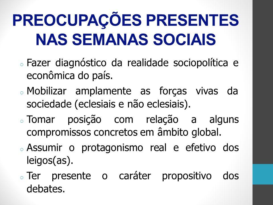 PREOCUPAÇÕES PRESENTES NAS SEMANAS SOCIAIS o Fazer diagnóstico da realidade sociopolítica e econômica do país. o Mobilizar amplamente as forças vivas