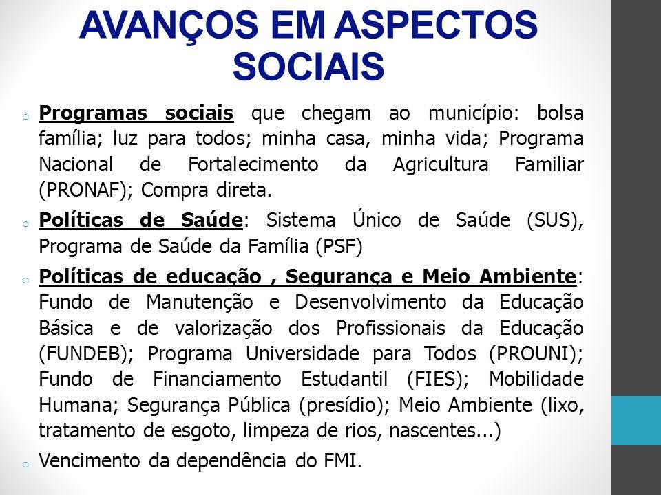 RETRATO SOCIAL ECONÔMICO E RELIGIOSO o Uma boa reflexão é nos perguntarmos se todos esses programas do Estado brasileiro chegam ao nosso município ou não.