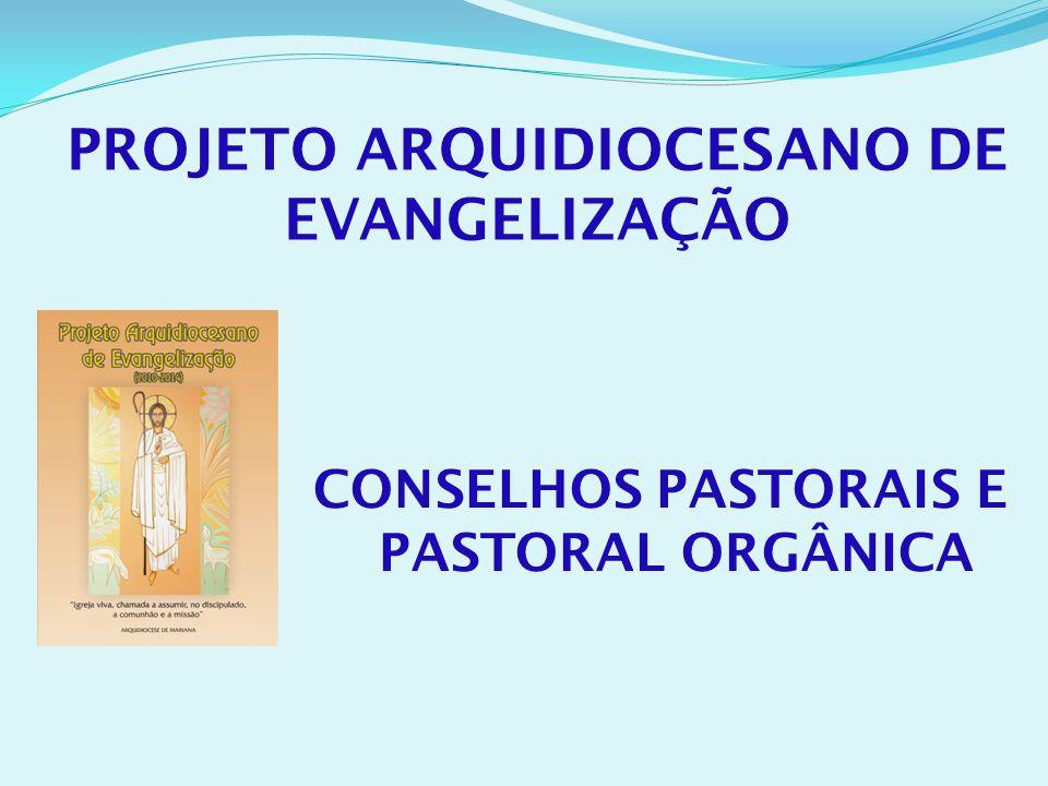 PROJETO ARQUIDIOCESANO DE EVANGELIZAÇÃO CONSELHOS PASTORAIS E PASTORAL ORGÂNICA