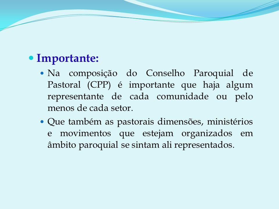 Importante: Na composição do Conselho Paroquial de Pastoral (CPP) é importante que haja algum representante de cada comunidade ou pelo menos de cada setor.