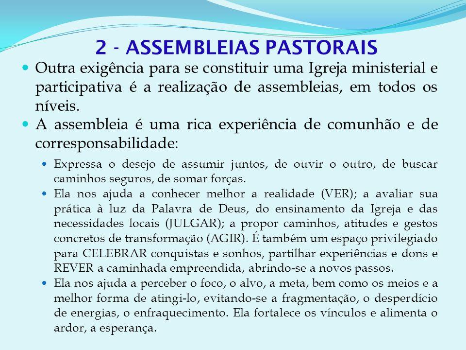 2 - ASSEMBLEIAS PASTORAIS Outra exigência para se constituir uma Igreja ministerial e participativa é a realização de assembleias, em todos os níveis.