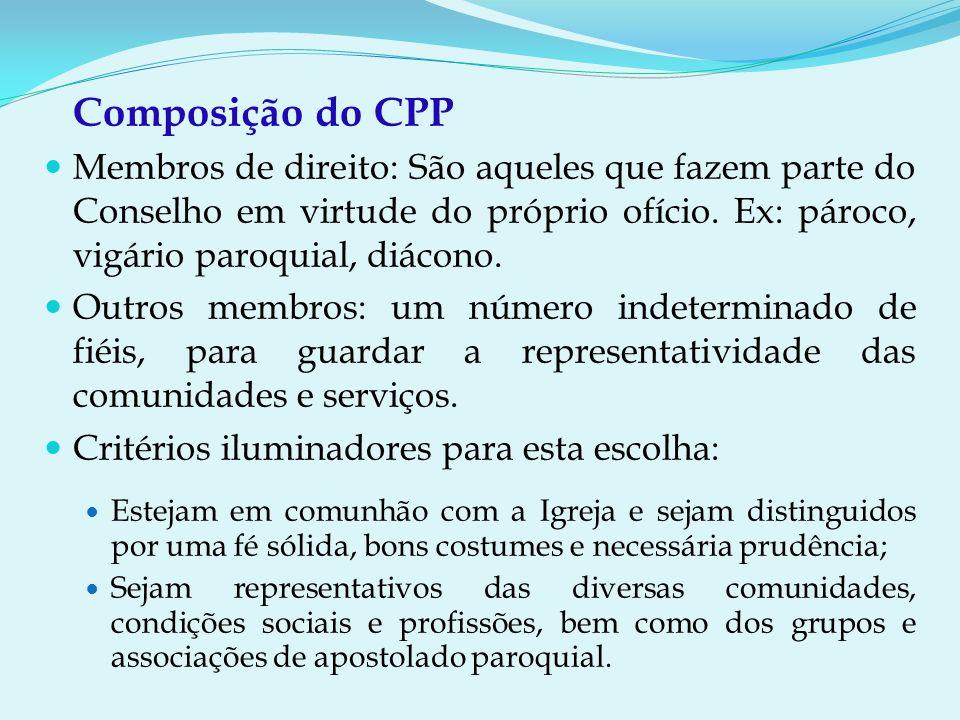 Composição do CPP Membros de direito: São aqueles que fazem parte do Conselho em virtude do próprio ofício.