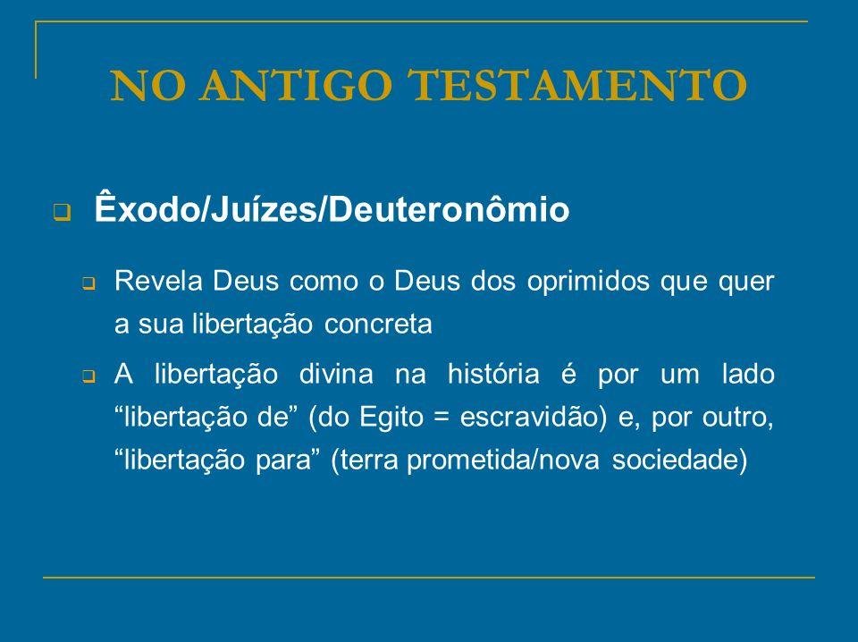 NO ANTIGO TESTAMENTO Êxodo/Juízes/Deuteronômio Revela Deus como o Deus dos oprimidos que quer a sua libertação concreta A libertação divina na históri
