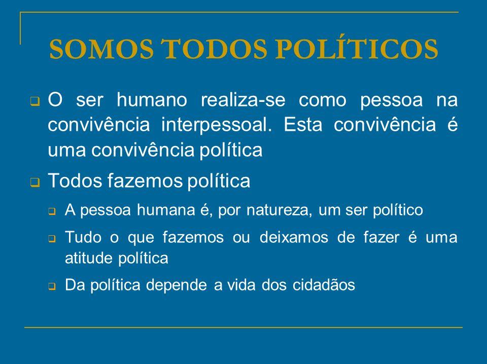 SOMOS TODOS POLÍTICOS O ser humano realiza-se como pessoa na convivência interpessoal. Esta convivência é uma convivência política Todos fazemos polít