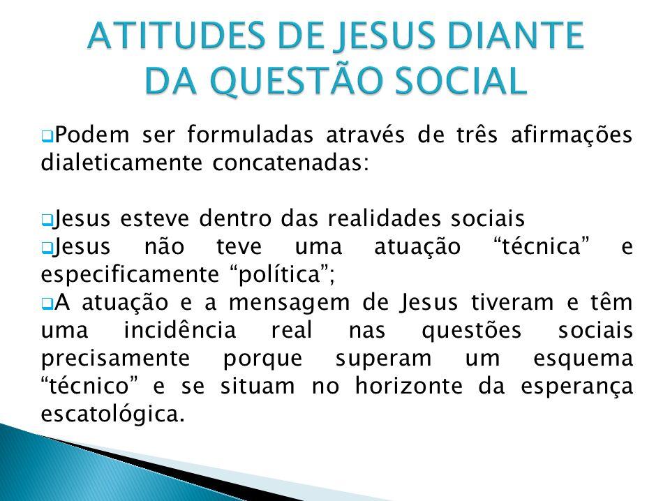 Podem ser formuladas através de três afirmações dialeticamente concatenadas: Jesus esteve dentro das realidades sociais Jesus não teve uma atuação téc
