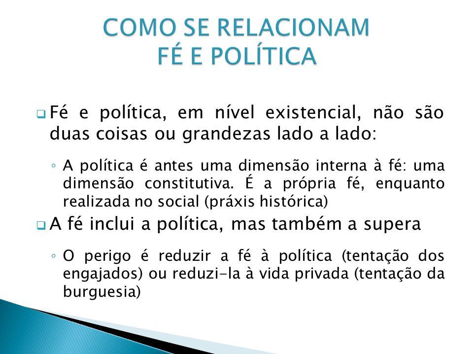 Fé e política, em nível existencial, não são duas coisas ou grandezas lado a lado: A política é antes uma dimensão interna à fé: uma dimensão constitu