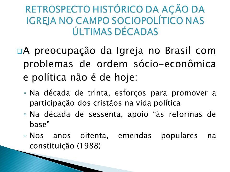 A preocupação da Igreja no Brasil com problemas de ordem sócio-econômica e política não é de hoje: Na década de trinta, esforços para promover a parti