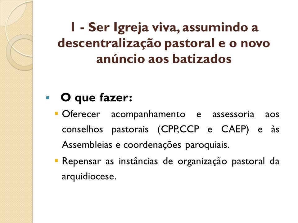 1 - Ser Igreja viva, assumindo a descentralização pastoral e o novo anúncio aos batizados O que fazer: Oferecer acompanhamento e assessoria aos consel