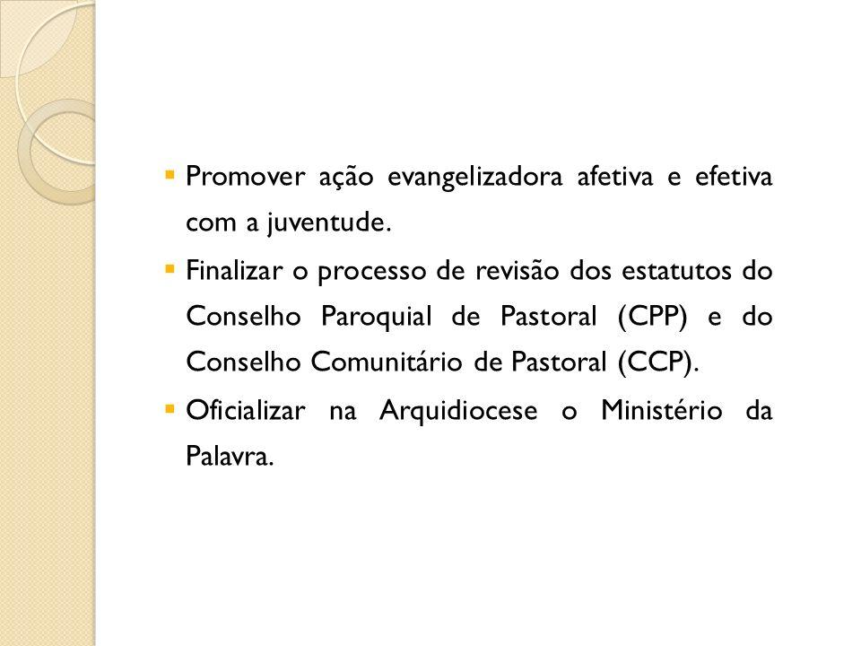 Promover ação evangelizadora afetiva e efetiva com a juventude. Finalizar o processo de revisão dos estatutos do Conselho Paroquial de Pastoral (CPP)