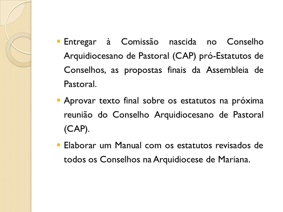 Entregar à Comissão nascida no Conselho Arquidiocesano de Pastoral (CAP) pró-Estatutos de Conselhos, as propostas finais da Assembleia de Pastoral. Ap